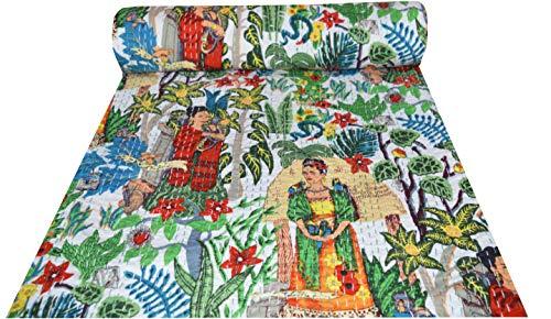 Majisacraft Colcha de algodón india hecha a mano con estampado floral, manta Frida Kahlo Kantha, tamaño Queen 228 x 250 cm aprox. (blanco)