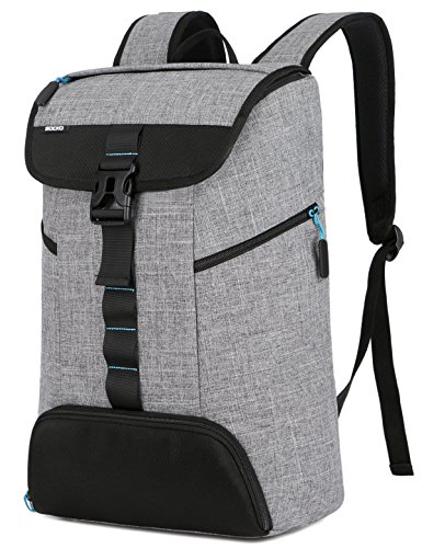 SOCKO Laptop Backpack,Multi-functional Lightweight Water Resistant Casual Daypack/Sport Gym Bag with Shoes Pocket/College School Backpack/Computer Rucksack for laptops up to 17.3 Inch,Grey