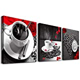 wall art for kitchen - 3 piece Framed Canvas Wall Art for kitchen family dining room Wall decor modern restaurant Wall painting Bedroom wall Decoration Rose coffee Canvas pictures inspiration posters Artwork for home walls
