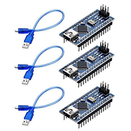 Yizhet 3 x Nano V3.0 Entwicklerboard ATmega328P CH340G Chip Fertig Verlötete, Micro Controller Board Module mit 3 USB Kabel, Kompatibel mit Arduino IDE Projekt EINWEG (Verbesserte Version)