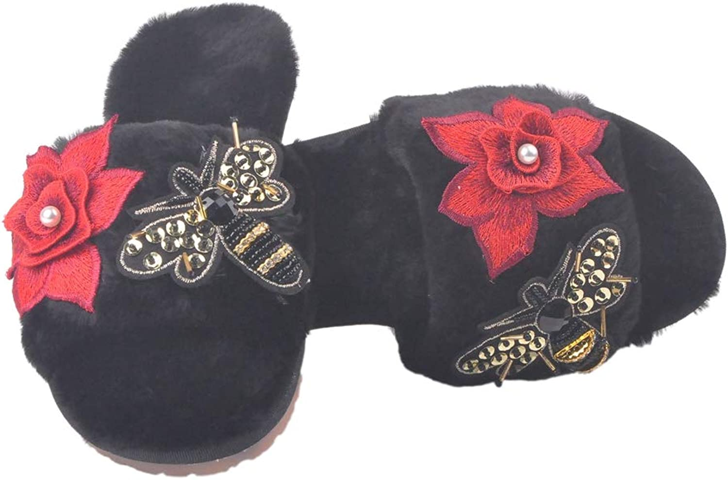 T-JULY Women's Hand Embroidery Flower and Butterfly Fur Slippers Fluffy Plush Sandals Winter Warm Slides Flip Flops