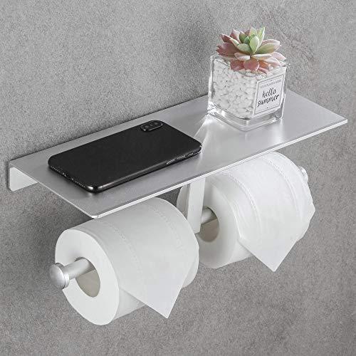 DUFU Toilettenpapierhalter mit Ablage Ohne Bohren WC Rollenhalter Silber Doppelt Klopapierhalter Selbstklebend Papierhalter Toilette Wandmontage Aluminium oder Schraubenmontage