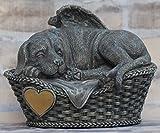 Hunde Urne grau als Hunde-Engelfigur und Gravurplatte, Tierurne