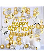 APERIL Happy Birthday Balloons Gold Party Decorations, Happy Birthday Foil Balloons, Gold Balloons, Latex Confetti Balloons, Gold Banner, Star Foil Balloons, Cake Topper Tassels and Ribbon