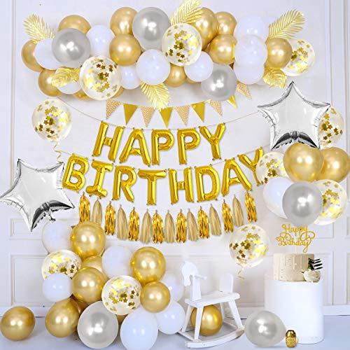 APERIL Geburtstagdeko Gold Partydekoration, Happy Birthday Folien Luftballons, Gold Luftballons, Latex Konfetti Luftballons, Stern Folien Luftballons, Goldbanner, Cake Topper Quasten und Band