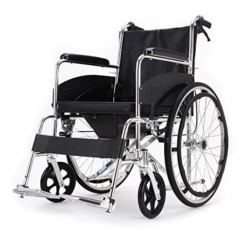 WC Silla de Ruedas Plegable con Inodoro de Transporte multifunción,se Puede Usar como Silla de Ducha,para Pacientes paralíticos, Ancianos y Mujeres Embarazadas