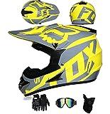 Casco Integral De Motocross Certificado ECE Para Jóvenes Adultos Dirt Bike Casco De Moto Para Niños Niñas Quad Bikes BMX MTB Todo Terreno DH Casco Con Gafas Guantes Máscara F, M=57-58CM