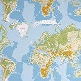 SCHÖNER LEBEN. Dekostoff Baumwollstoff Weltkarte Länder