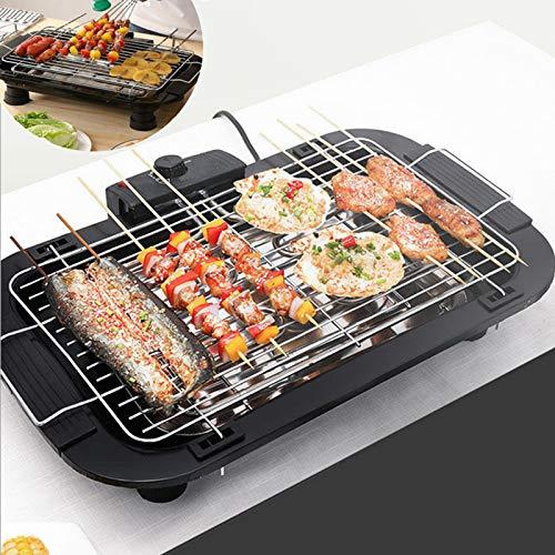 1500W Rauchfreier Tragbarer Elektrogrill ,Tischgrill, BBQ Barbecue, elektrisch Grill, Balkongrill, Grillpatte mit eingebauter Tropfschale Einstellbare Temperaturregelung, 36X21cm , Schwarz.