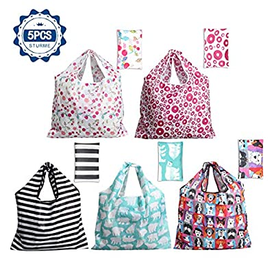 Grocery Shopping Bags 5 Pack Reusable Washable Grocery Bags Large 50LBS Cute Groceries Bags with Pouch Bulk Eco-Friendly Purse Bag Fits in Pocket Waterproof & Lightweight