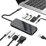 Runsnail USBハブ Type c 10 in 1 ウルトラスリム USB C ハブ ドッキングステーション 4K HDMI VGA 充電対応 USB3.0 ハブ PD急速充電Type-Cポート SD/MicroSD (TF) 3.5mmオーディオ/マイク LAN(100Mbs) 変換 アダプタ MacBook MacBook Pro/ChromeBook対応