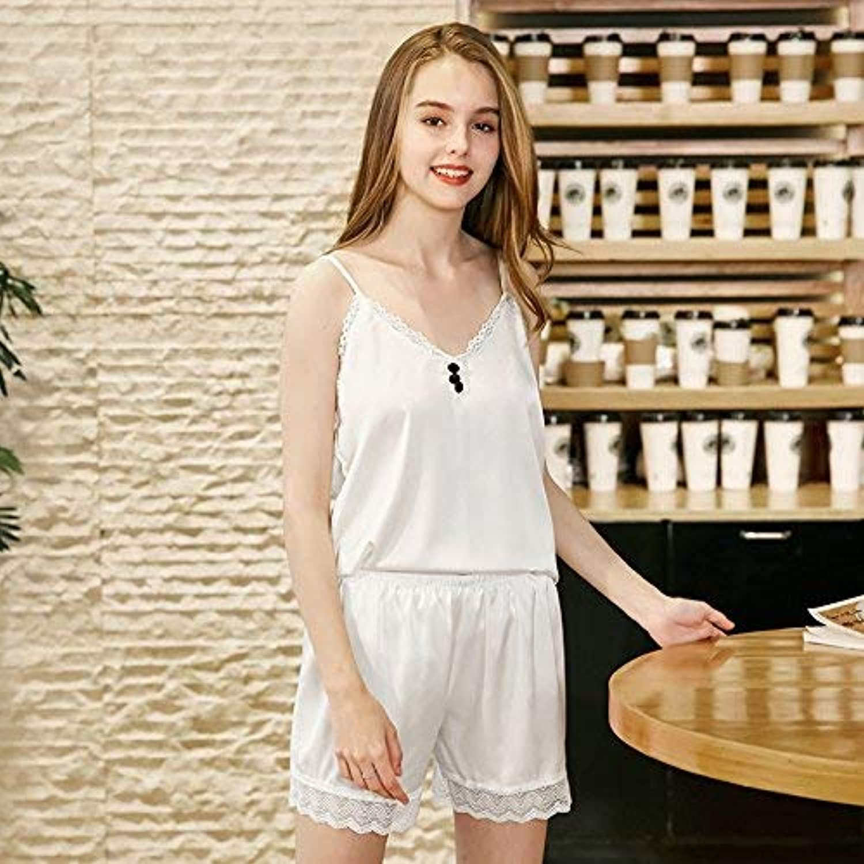 DALAI Simulation Silk Pajamas Ladies Summer Short Sexy Strap Pajamas Set (color   White, Size   XL) (color   White, Size   XLarge)