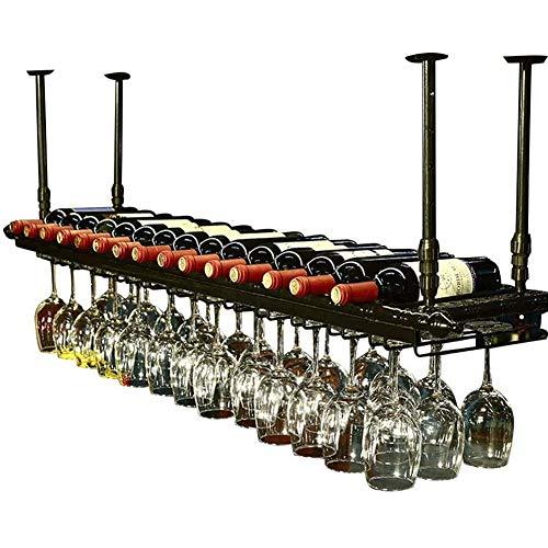 BFDMY Estante para Botellas De Vino De Techo Negro para 11 Botellas, 30 Tazas para Colgar, Soportes para Copas De Vino De Cocina, Soporte para Botellas, Estante De Decoración Altura Ajustable