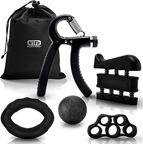 N1Fit Hand Grip Strengthener Workout Kit (5 Pack) Forearm Grip Adjustable Resistance Hand Gripper, Finger Exerciser, Finger Stretcher, Grip Ring & Stress Relief Grip Ball for Athletes