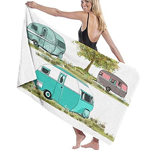 NINEHASA Toalla de Playa de Microfibra,Camping Vintage Travel Trailer Tress,Toalla Deportiva Secado Rápido Absorbente para Deportes Viajes Playa Camping