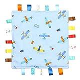 Manta de Etiquetas para Bebés Azul - Manta de Etiquetas Azul con Aviones -...