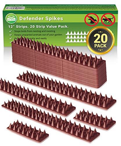 DE-BIRD: Defender Spikes, Cat and Bird Deterrent - Outdoor Pest Defender To Keep Off Pigeon, Squirrel, Woodpecker & More. Plastic Deterrent Anti Theft Climb Strips - 20pk [20 foot]
