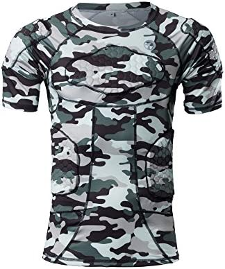 DGXINJUN Padded Compression Weight Training Shirt Sports Short Sleeve Protective T Shirt Boxing product image