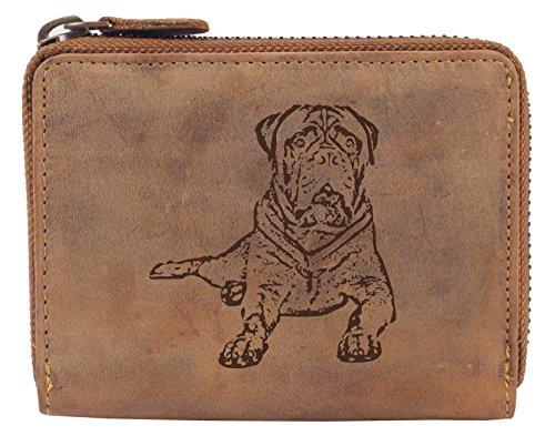 Greenburry Vintage Damen-Geldbörse mit Hunde-Motiv Bullmastiff Portemonnaie Braun 13x10x3 cm