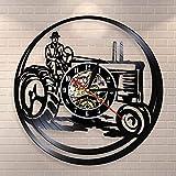 Vintage Farm Truck Reloj de Pared Harvester Disco de Vinilo Reloj de Pared Pickup Truck Tractor Casa de Campo Decoración de la Pared Farmers Gift