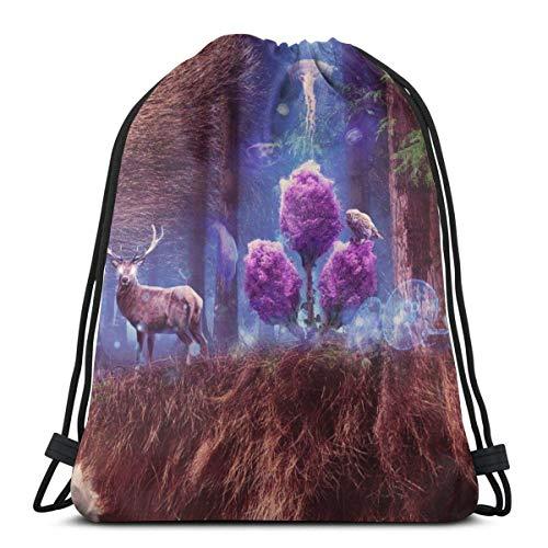 Bolsas De Cuerdas Gimnasio,Mochila con Cordón,Bear Deer Mens Womens Athletic Premium Quality Pull String Bag para Viajar Yoga Shopping School Workout Beach
