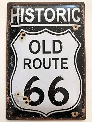 Cartel de metal de 20 x 30 cm, diseño vintage de la antigua Ruta 66