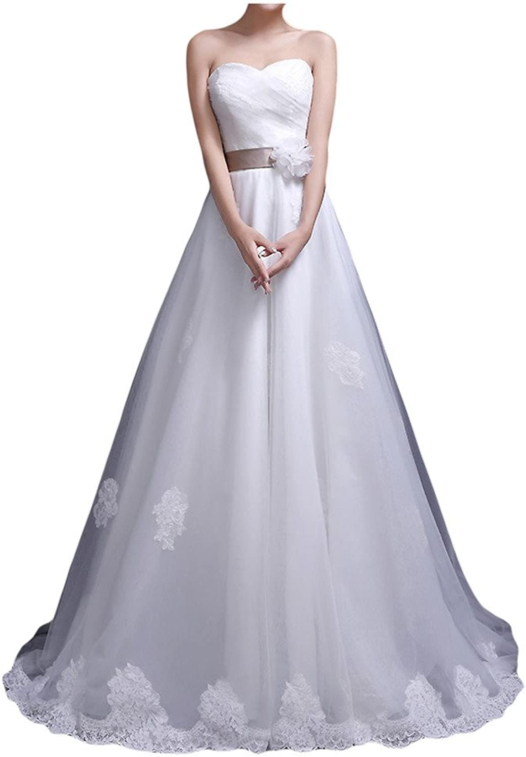 Avril Dress White Sweetheart Satin Appliques Bow Lace Up Princess Wedding Gown