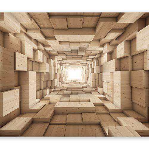 murando Fototapete 3D Effekt 350x256 cm Vlies Tapeten Wandtapete XXL Moderne Wanddeko Design Wand Dekoration Wohnzimmer Schlafzimmer Büro Flur Tunnel Holz Beige a-A-0125-a-b