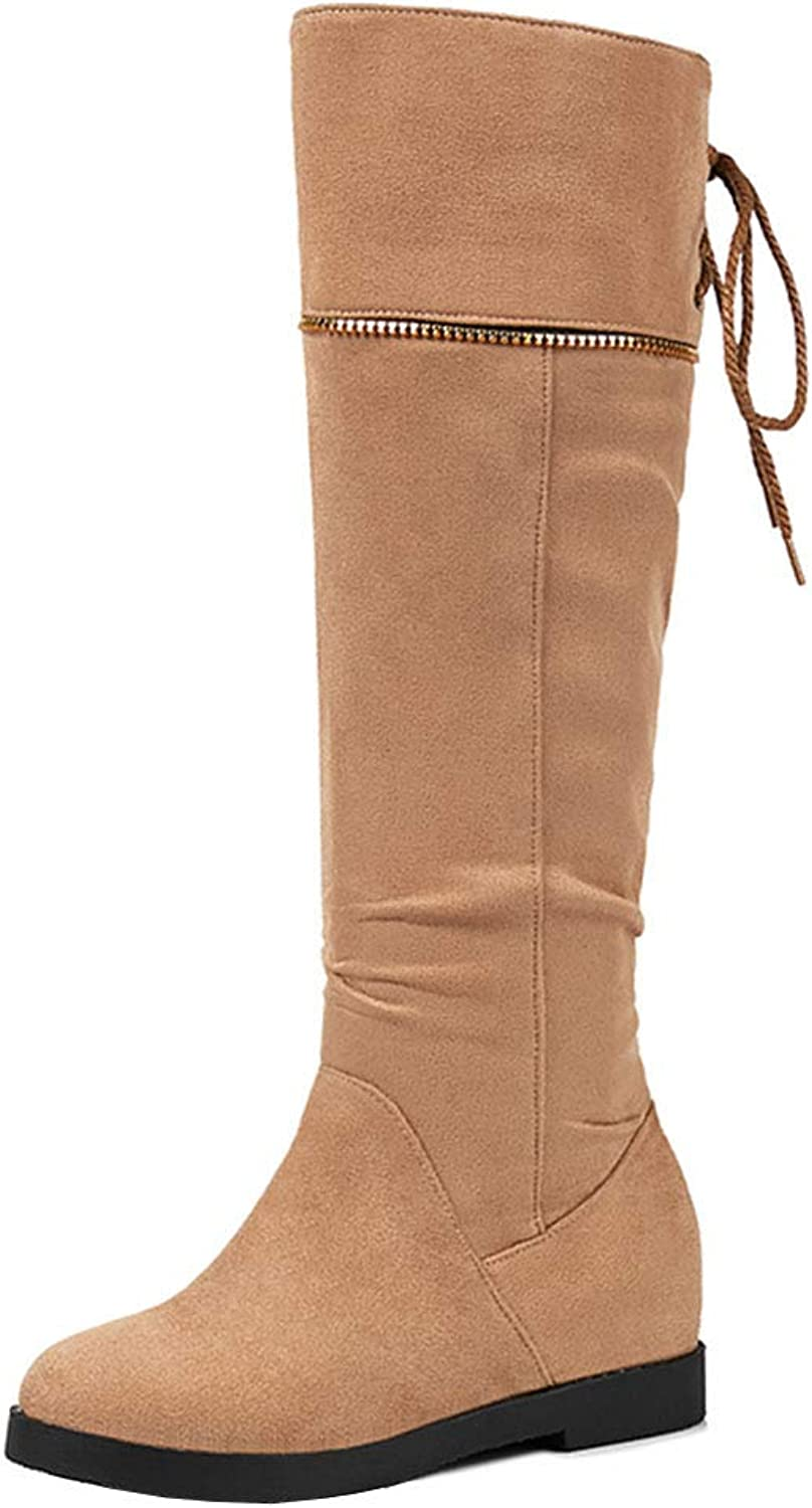 TAOFFEN Womens Pull On Knee High Boots Wedge Heel