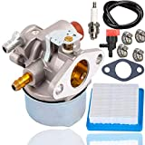 Fyange 640025 Carburetor+36046 Air Filter+Spark Plug for Tecumseh 640025 640025C 640004 640017 640135A Replace OHH65 OHH55 OHH50 Engine with Fuel Shut Off Valve