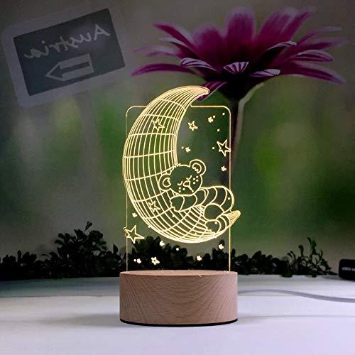 Cartoon Niedliches Tier Haustier Vogel Blumen Pflanzen Nachtlicht Kreative 3D LED Tischlampe Dekoration Kinder Geschenk Mond Stern Bär