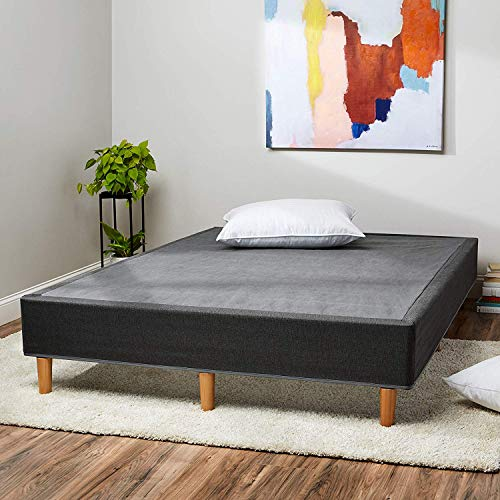 Amazon Basics Premium Foldable Mattress Foundation/Box Spring with Steel Slats and Wood Legs, Tools-free Assembley, Queen