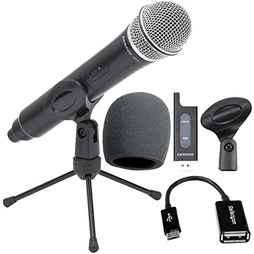 Samson Stage X1U Digital Wireless Handheld Microphone For Android Smartphones Includes USB Receiver + Foam Windscreen + Micro USB OTG Host Adapter, Top Value Samson Wireless Mic System Bundle!