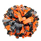 Danzcue 2 Pack 6 Inches Plastic Cheerleading Pom Pom with Baton Handle (Orange-Black, One Size)
