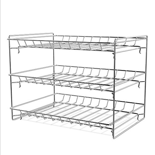 Lavish Classic Cuisine 3 Tier Dispenser-Organizer Rack Holds up to 27 Cans-for Kitchen Pantry, Countertops, and Cabinets-Storage Accessories (Chrome)