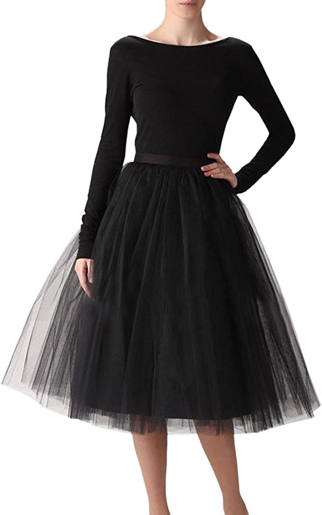 WDPL Women's A-line Knee Length Prom Party Tulle Tutu Skirt Medium Black