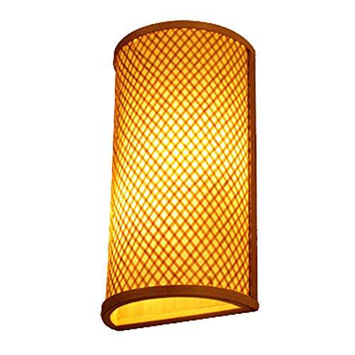 DASENLIN Wandleuchte, Chinesische Handgefertigte Bambus Gewebte Art Deco Innen Wandlampe, 16W Holz Beleuchtung für Wohnzimmer/Schlafzimmer/Nacht/Flur/Bar