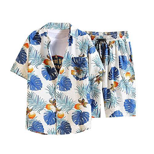 Hawaii Anzug Herren Strand Hawaiihemd Shorts Sommer Zweiteiler Urlaub Freizeitanzug Blumen 3D Gedruckt Strand Hemd Kurzarm Aloha Freizeit Hemd Shirts Button Down Graphic T- Shirts Kurz Hose Sets