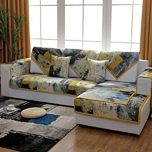 Hybad Transpirable Fundas para Sofa,Block Printed 1/2/3/4 Seater Couch Slipcover,Corner Sofa Protector,Combined Sofa Throw Sets,Lounge Sofa Cover-E_110*110cm-Cada Pieza se Vende por Separado
