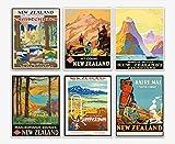 New Zealand Travel Prints Set von 6 Reisepostern Ozeanien