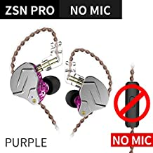 FAAEAL KZ ZSN Pro Headphones/Earphones/Earbuds,1BA+1DD High Fidelity High Resolution Wired Earphone Hybrid in Ear Earbud with 3.5mm Audio Plug Detachable 0.75mm 2 pin Cable (Without Mic, Purple)
