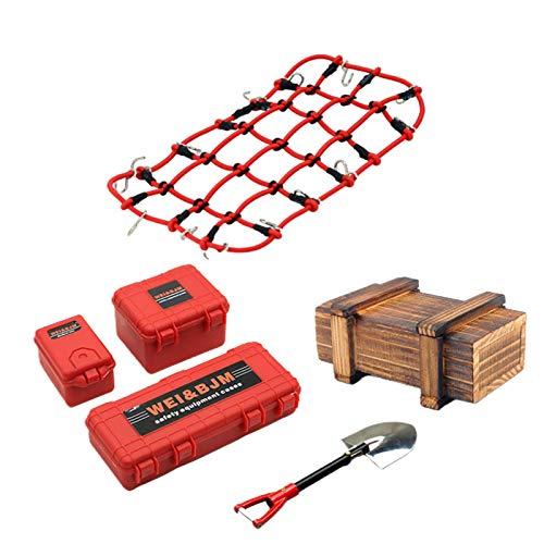 Simulazione Bagagli Caso Mini Portatile RC Giocattolo Crawler 4WD Bambini Decorativi Ricambi Net Accessorio per TRX4 (Rosso)