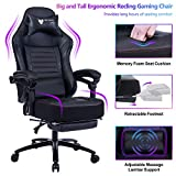 FANTASYLAB Big & Tall 400lb Massage Memory Foam Reclining Gaming Chair Metal Base - Adjustable Back Angle and Retractable Footrest Ergonomic High-Back Leather Racing Computer Desk Office Chair, Black