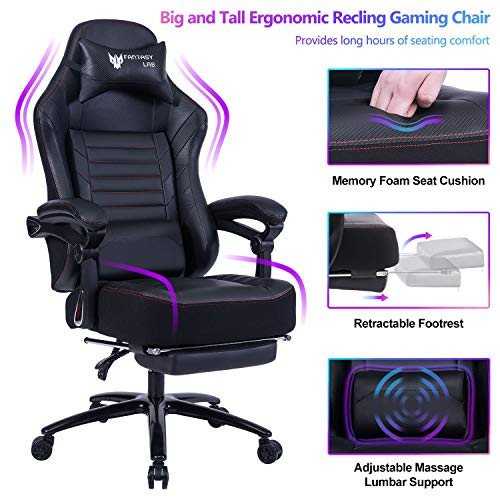 FANTASYLAB Big & Tall 400lb Massage Memory Foam Reclining Gaming Chair Metal Base - Adjustable Back Angle and Retractable Footrest Ergonomic High-Back Leather Racing Computer Desk Office Chair, Black Chairs Dining Features Game Kitchen Video