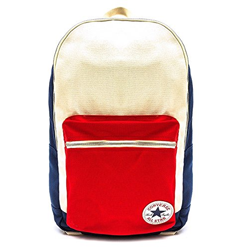Converse Rucksack Core Plus Canvas Backpack, Navy/Natural/Red, 26 x 45.5 x 12.5 cm, 15 Liter, 413639