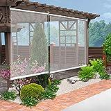 WXQIANG Pergola al aire libre ventanas persianas enrollables, plástico transparente PVC Roller Shades con ajuste, 80cm/100cm/120cm/140cm de ancho decoración interior, decoración del hogar y