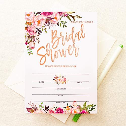 Crisky Rose Gold Foil Bridal Shower Invitation with Envelopes, Bridal Shower Invite, Wedding Shower Invitations, 25 pcs Cards
