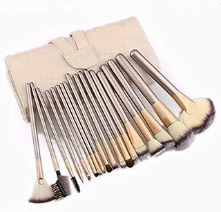 24 pcs Professional Makeup Brush Cosmetic Brushes Kit Set with Folding PU Leather Bag - Beige