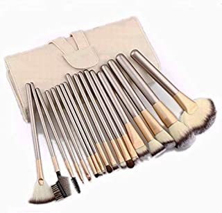 24 pcs Professional Makeup Brush Cosmetic Brushes Kit Set with Folding PU Leather Bag - Beige