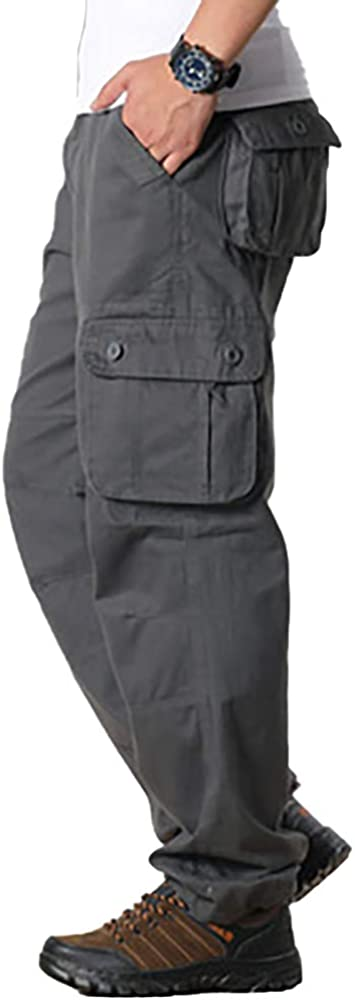 Raroauf Men's Cotton Loose Fit Casual Work Pants Tactical Cargo Pants with 6 Pockets